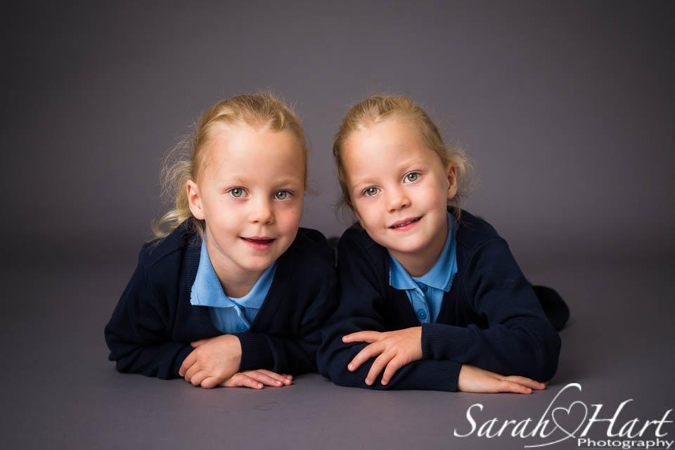 Twins starting school, photographs by Sarah Hart, Tonbridge, Kent