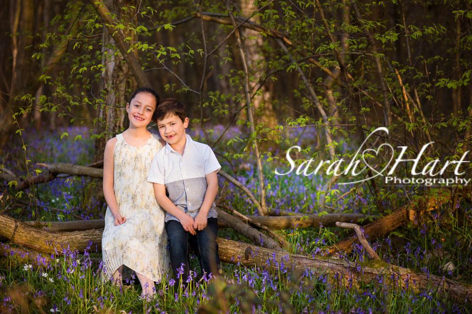 Siblings, Bluebell Photo shoot, walks in the woods, Sarah Hart photography, Denes Park, Kent