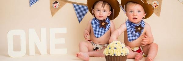 cowboy cake smash outfits, two little boys and a cake, studio photography, Hildenborough, Tonbridge