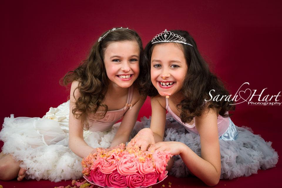 cake smash for big girls, older childrens cake smash session, princess theme, Kent photographer, Sarah Hart