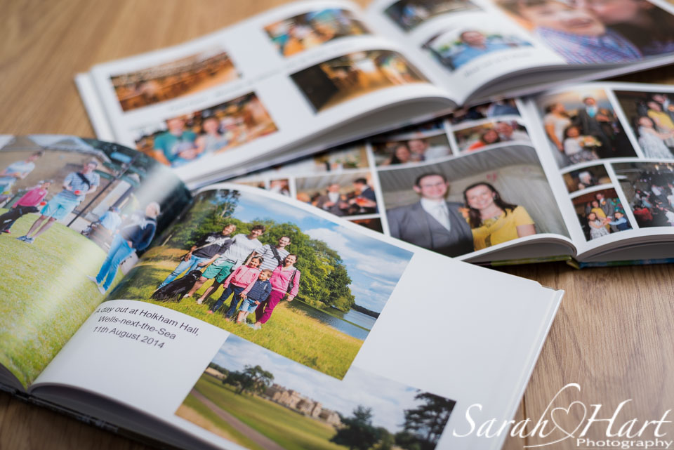 Photos printed in a family photobook, Photography by Sarah Hart