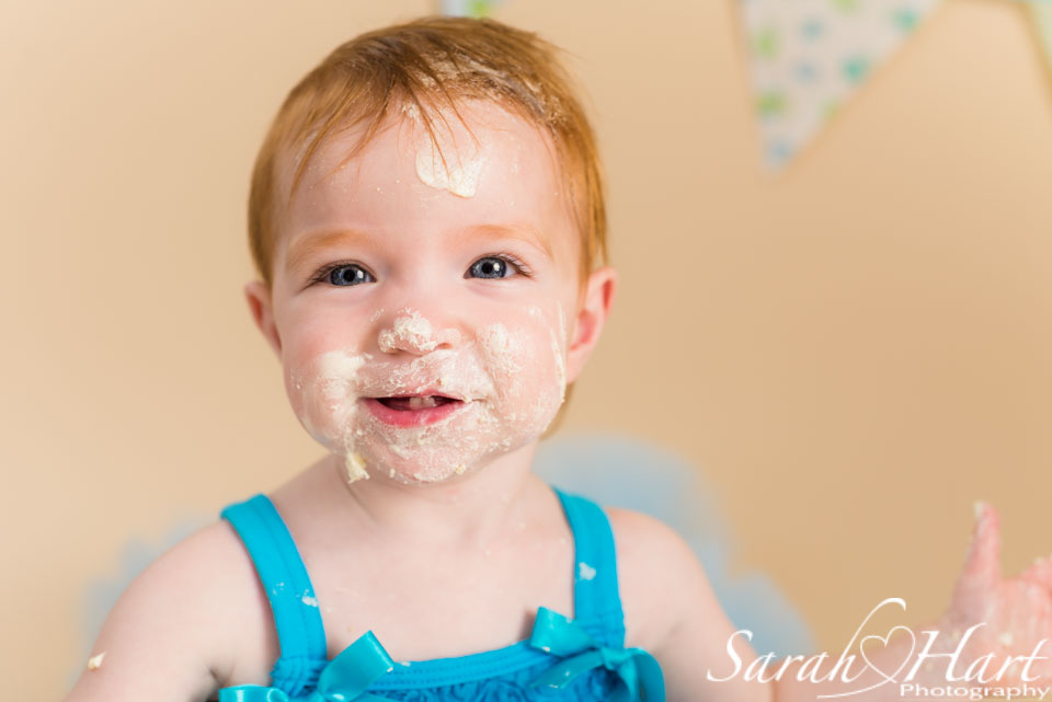 cake on face, Sarah Hart Photography, baby portraits