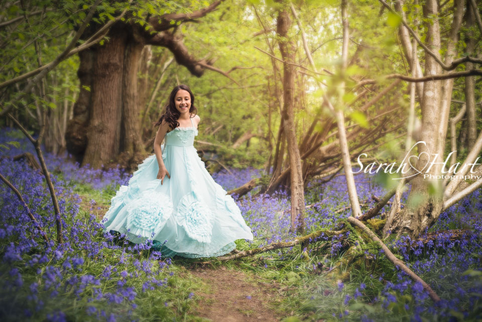 Princess in the woods, beautiful dress, bluebell photo shoot