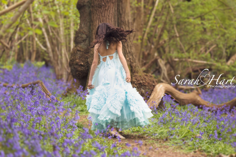 A princess in the bluebells, girly photo shoot, Kent Photographee
