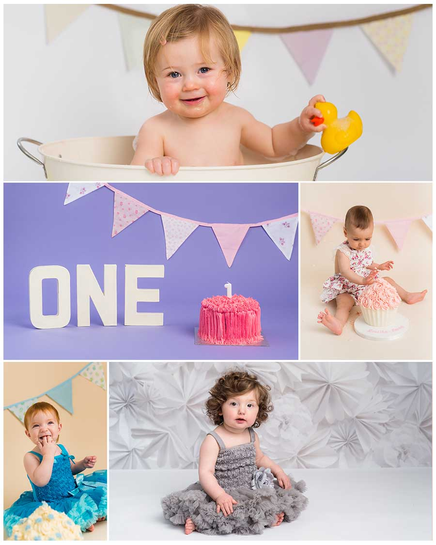 Cake Smash for 1 year old girls, different backdrops and themes, creative images by Sarah Hart Photography, cake smash and splash sessions in Tunbridge Wells