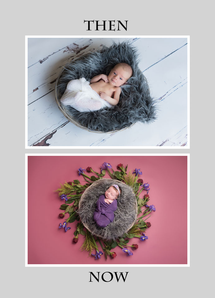 Comparison of then and now photos in my newborn photography, kent