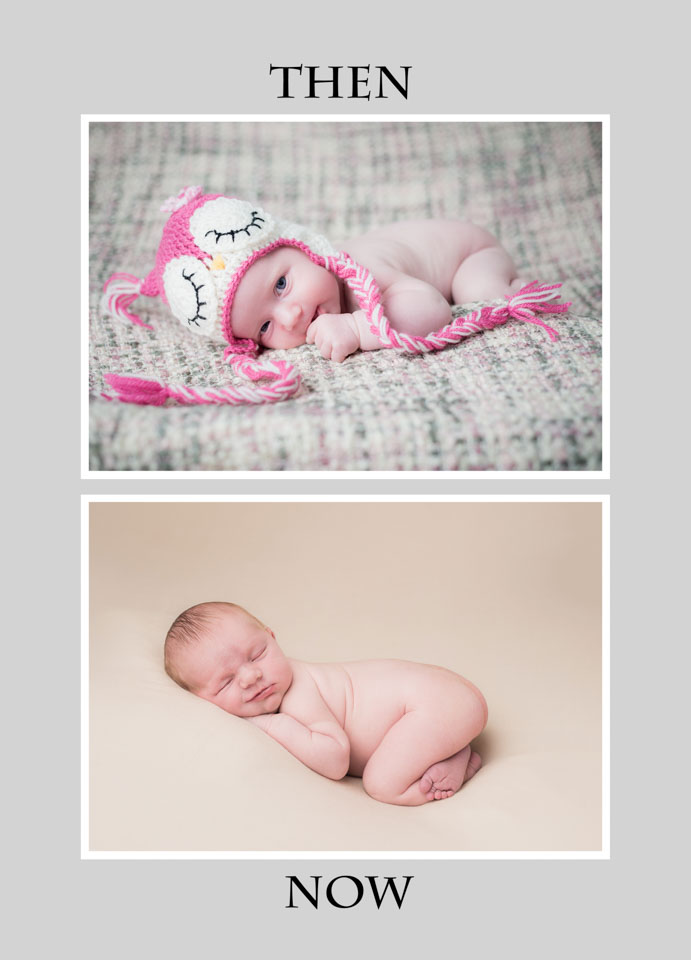 then and now to show development in newborn photography