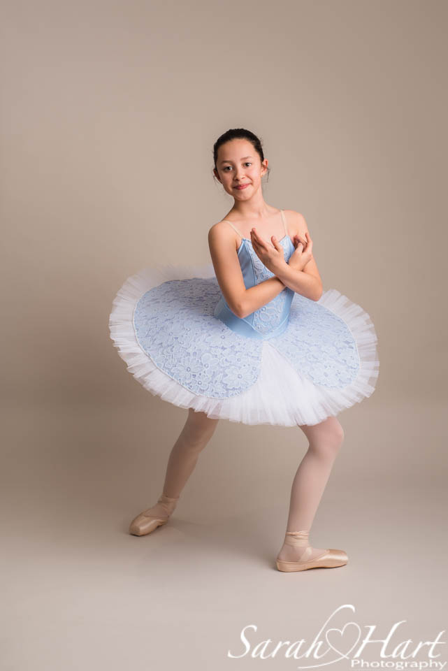 young ballet dancer in stunning blue tutu, Tonbridge studio portrait