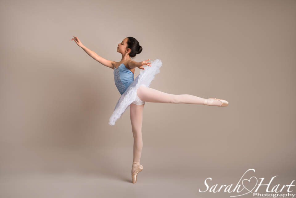 elegant arabesque of a young ballet dancer on pointe