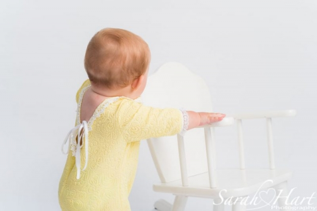 beautiful back to lemon romper, baby milestone session, simple baby portraits, Southborough