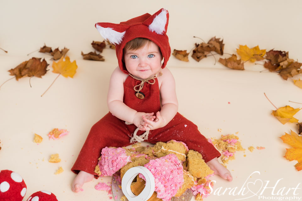 Woodland theme cake smash, baby dressed in fox outfit, images from a Tonbridge studio