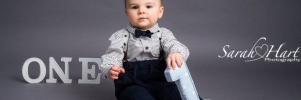 Smart outfit for 1st birthday portraits, number one letters, images taken in studio Tonbridge