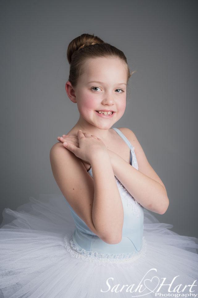 Beautiful ballet dancer portrait session, pale blue tutu, Sarah Hart Photography