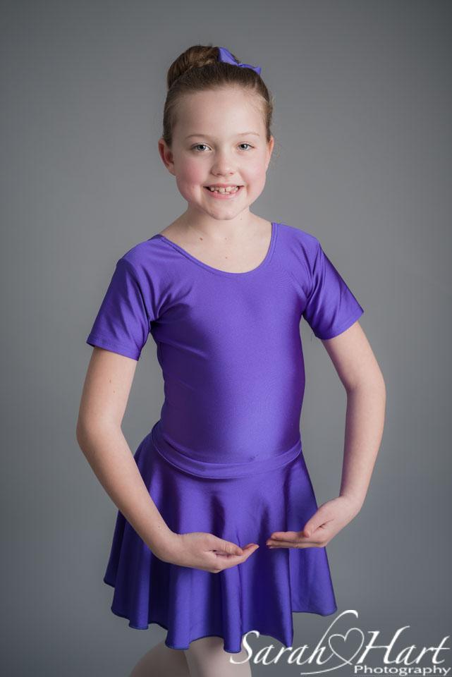 Young dancer, purple skirt and leotard, ballet photoshoot Tonbridge, Kent