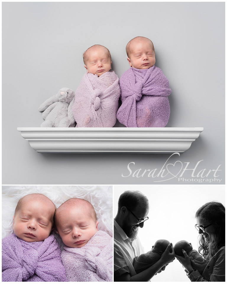 newborn twin girls wrapped and swaddled, photography of newborn twins in Tonbridge, Kent