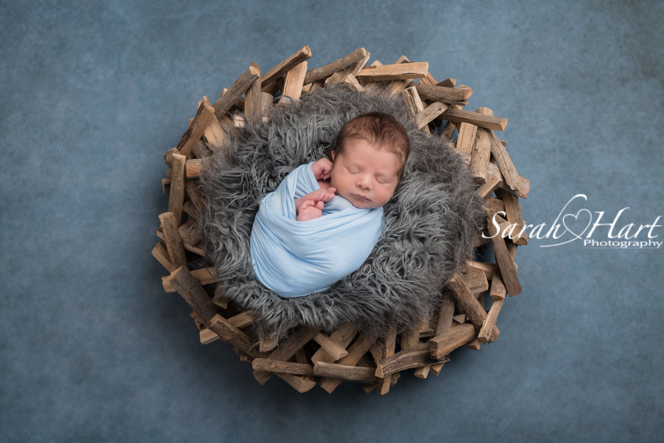 driftwood garland, baby on grey fur, beautiful newborn photography
