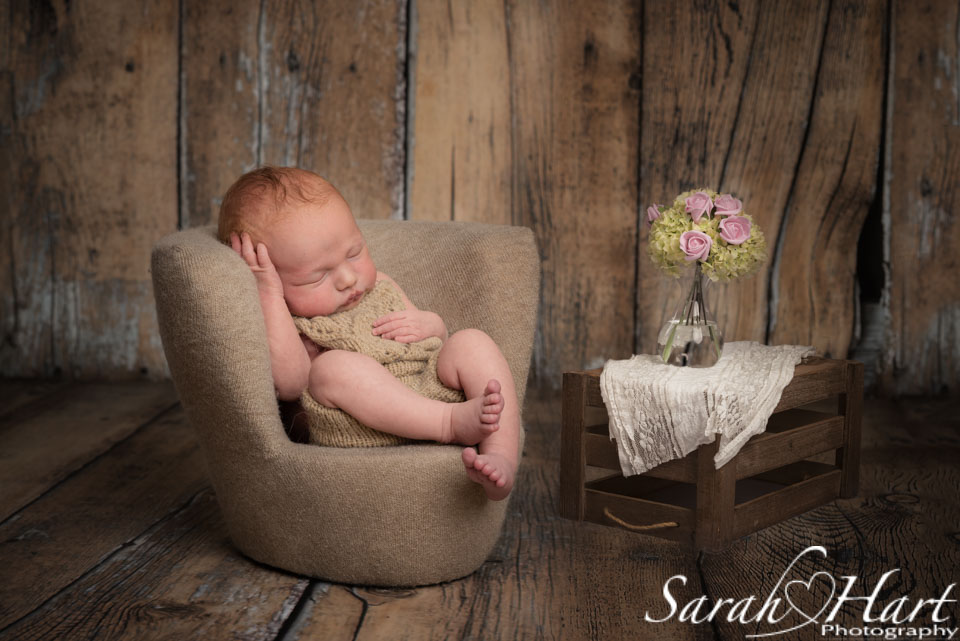 baby dozing in an armchair, baby art, photos by Sarah Hart Photography
