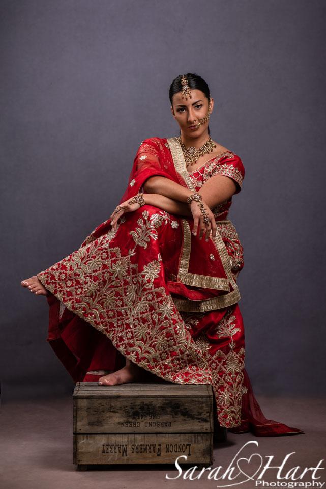 indian themed photo shoot, red and gold sari, tunbridge wells photographer