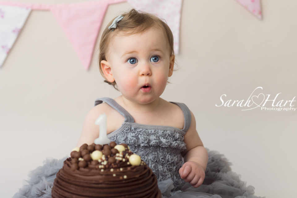 celebrate first birthday, cake smash with Sarah Hart Photography, studio in Tonbridge