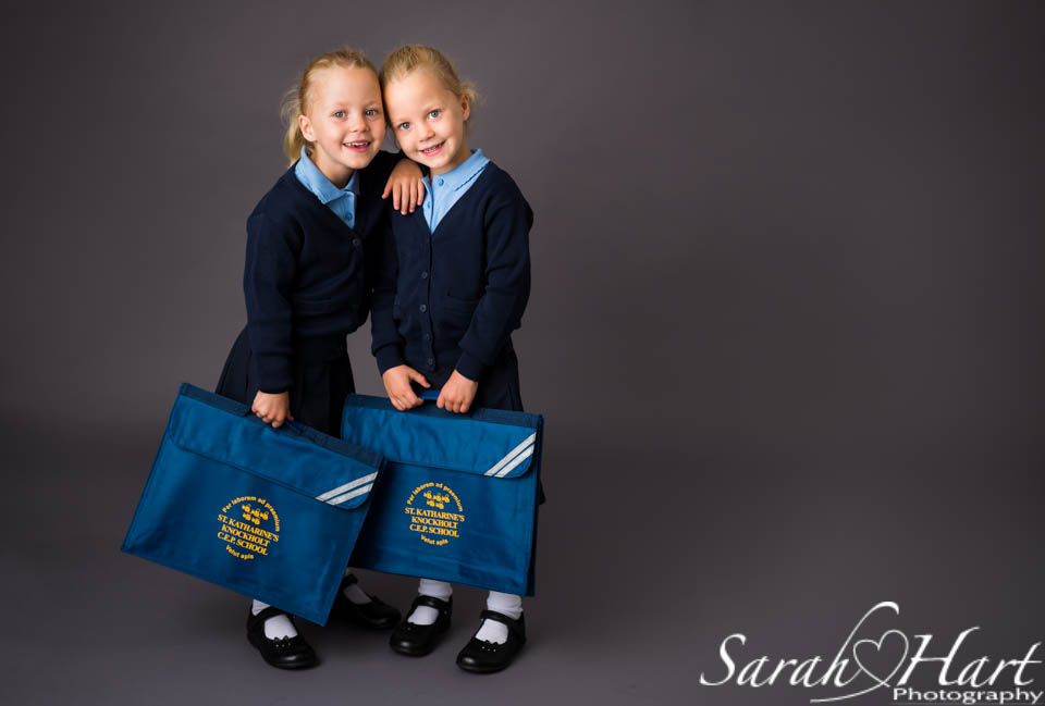 Double trouble twin schoolgirlsl,  portraits by Sarah Hart, Kent family photographer