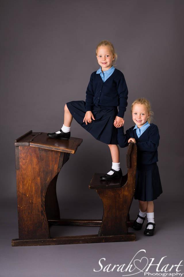 Twins in school uniform, look smart for school, mini sessions by Sarah Hart Photography, Tonbridge