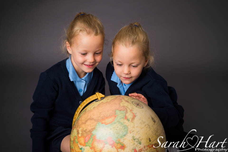 Knockholt, Sevenoaks, Kent, Twins in school uniform, Sarah Hart Photography