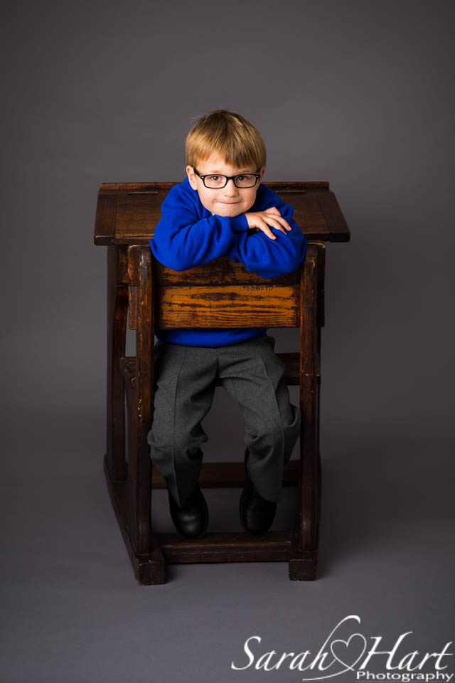 School desk portrait, Images by Sarah Hart Photography, studio in Kent