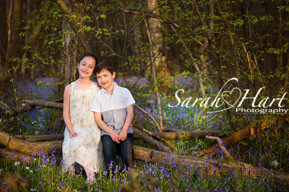 Siblings, Bluebell Photo shoot, walks in the woods, Sarah Hart photography, Denes Park, Kent