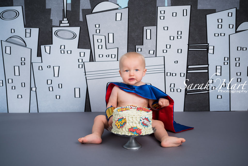Superman cake smash theme, Tonbridge cake smash photographer