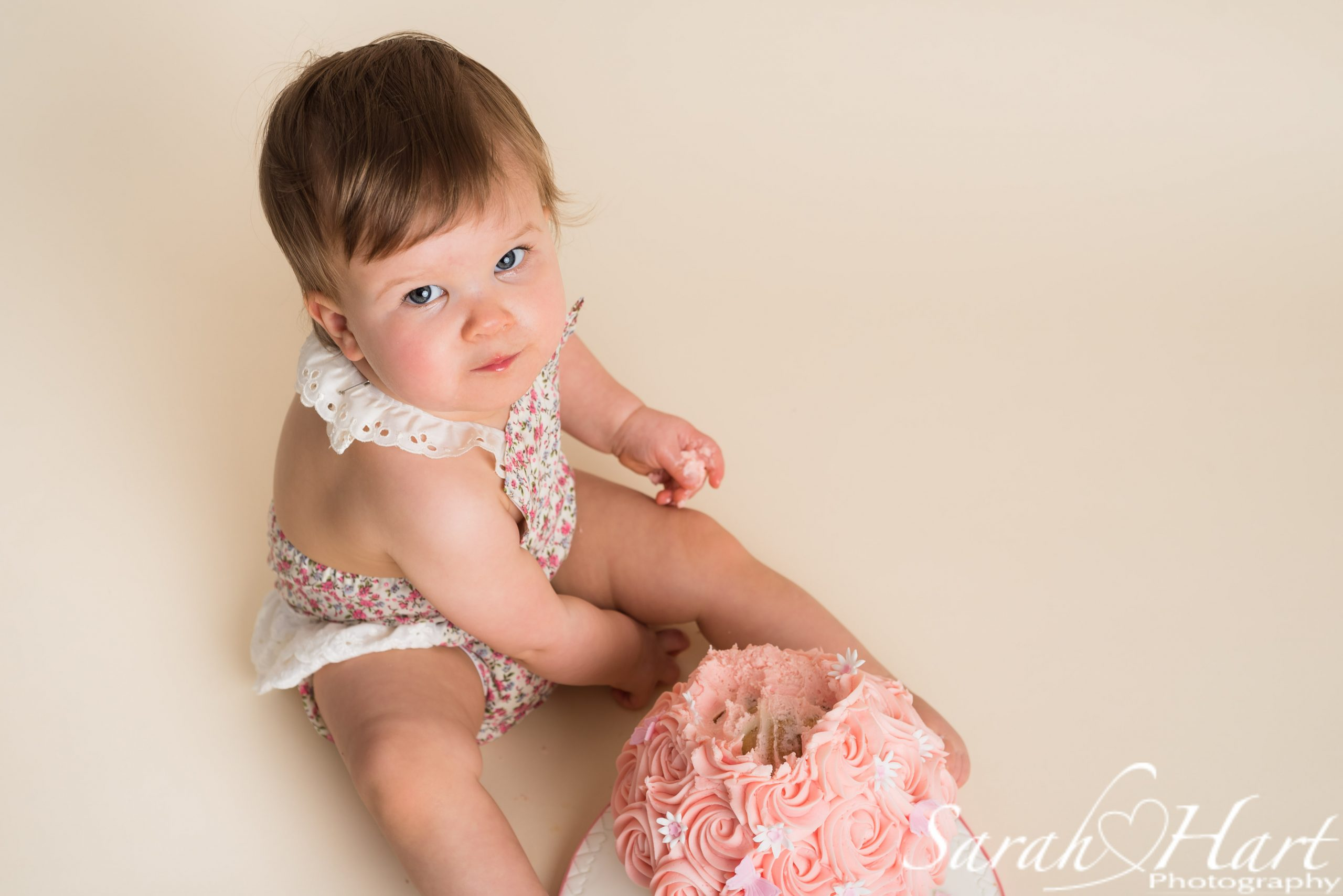 cute romper outfit for cake smash,, Sarah Hart Photography, Tonbridge photographer