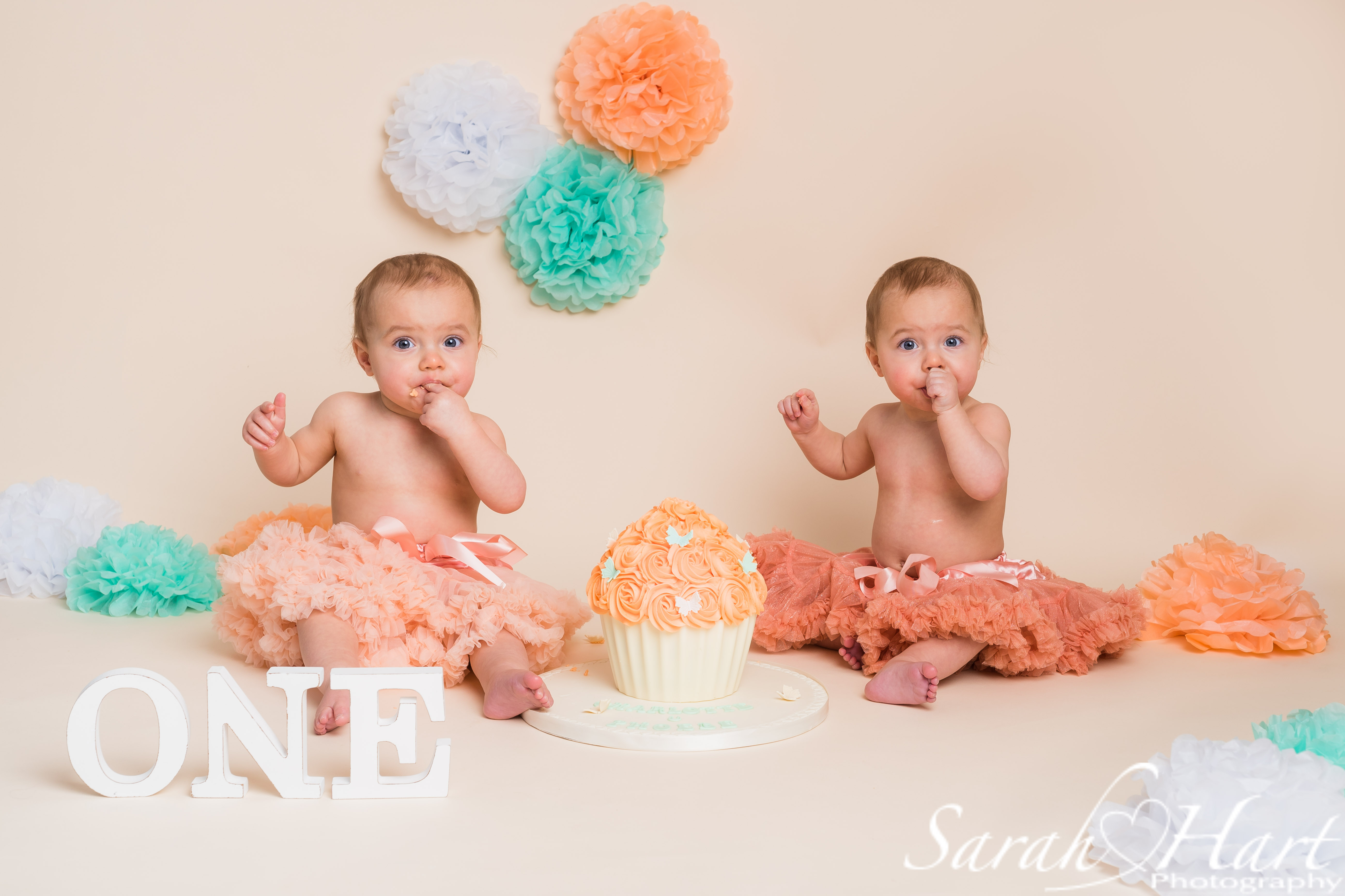 twin cake smash, pretty peach theme, tut dresses and skirts, Kent Cake Smash Photographer
