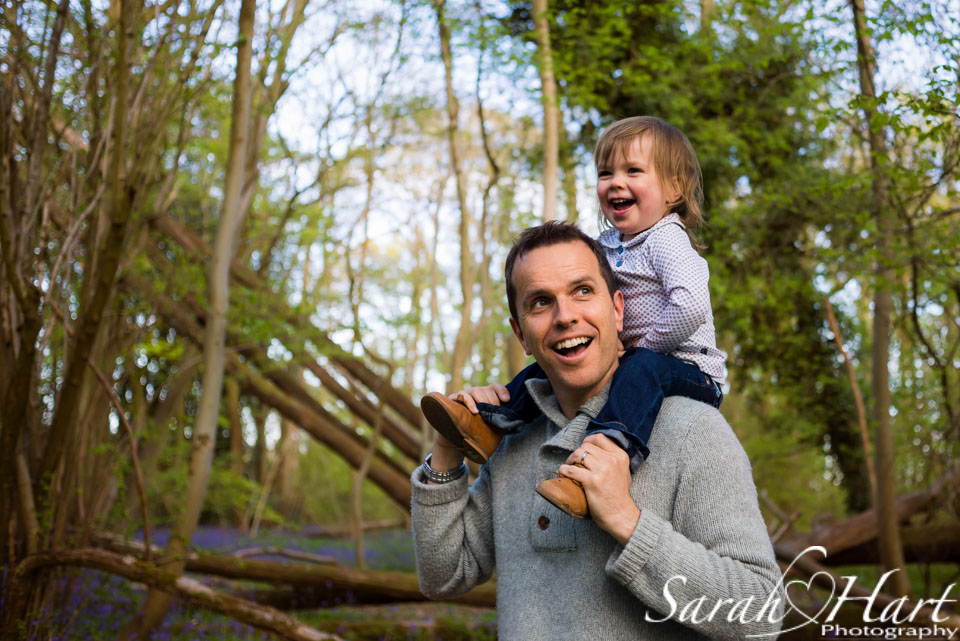 fun with Dad on a family photoshoot, Kent bluebell photo shoot, Sarah Hart Photography