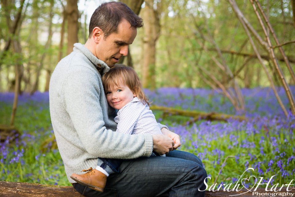 cuddles with dad, Bluebell photography, Kent family photographer