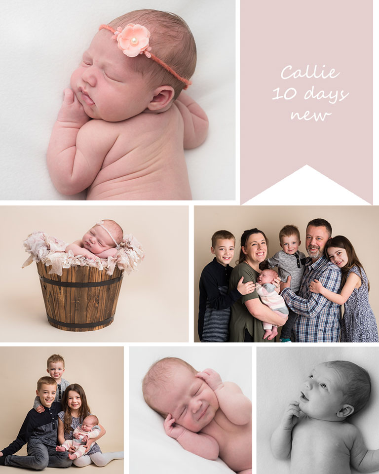 Callie is the fourth child in her family, photographed by newborn photographer Sarah Hart