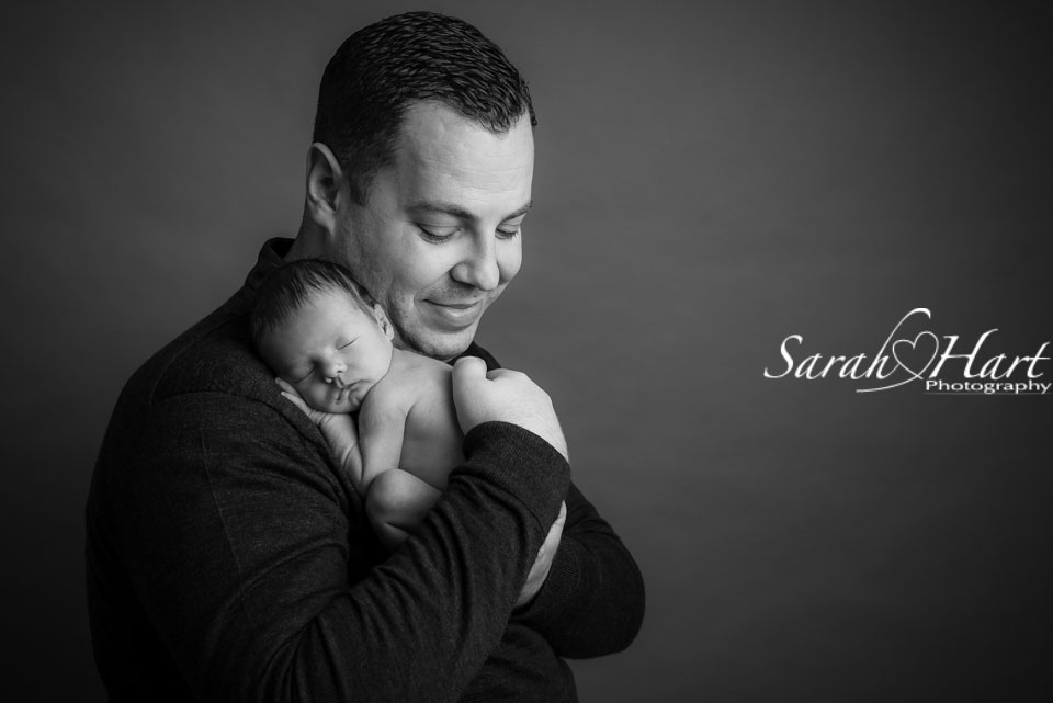 Dad with his newborn son, precious newborn photography, Kent baby photographer