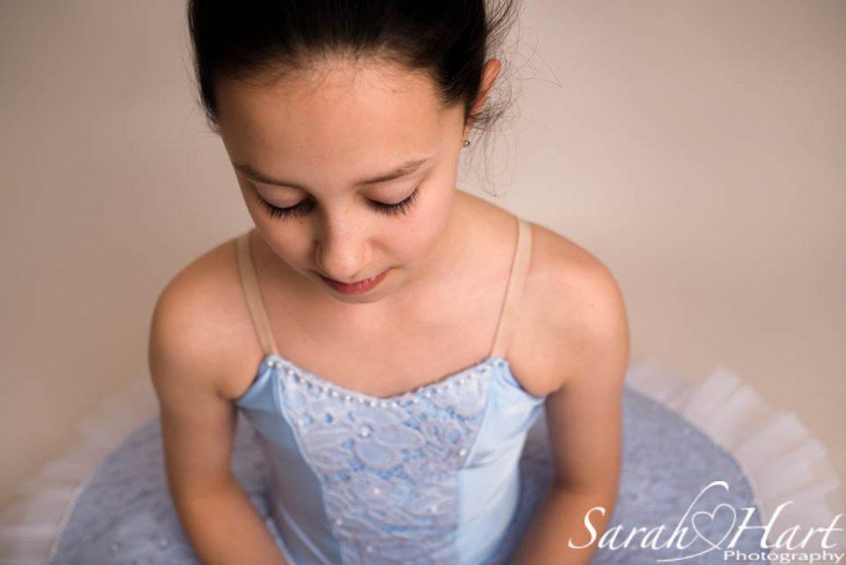 serene moment of a ballerina, blue tutu bodice