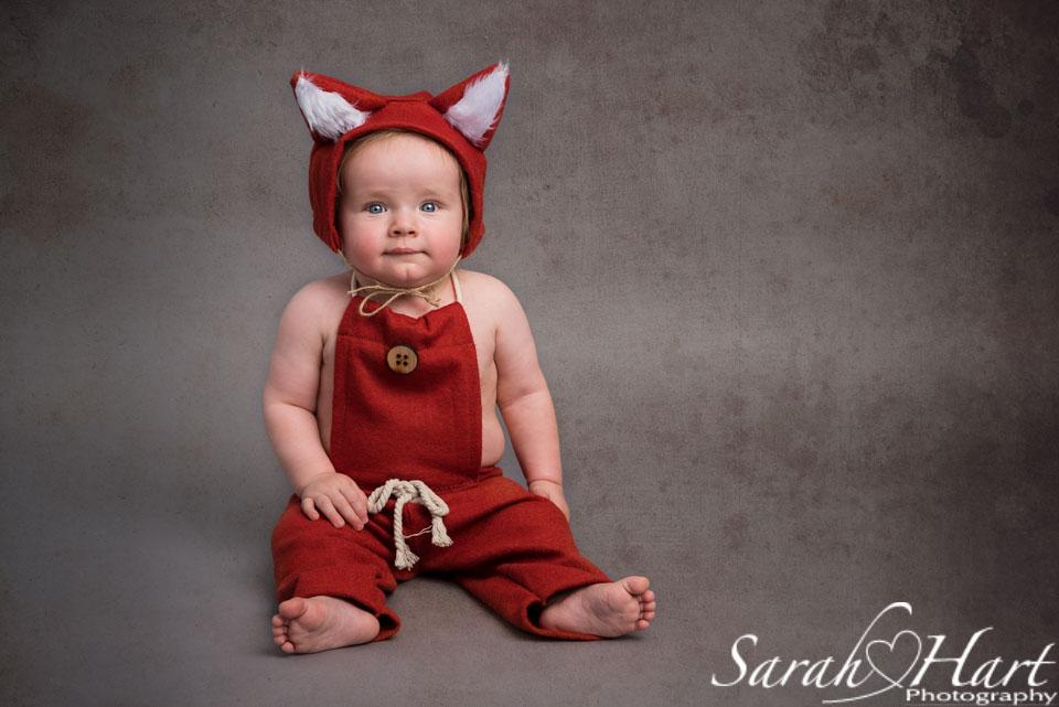 cute fox outfit, chin dimple, baby photo shoot, sevenoaks photographer
