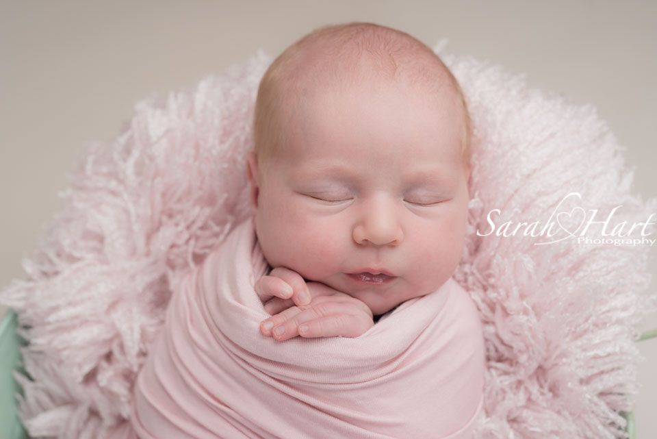 pale blush pink tones for newborn baby girl, west malling photographer