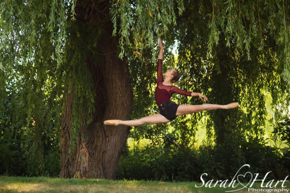 grand jete, leaping through Tonbridge, Royal Ballet School Student photographed in Kent