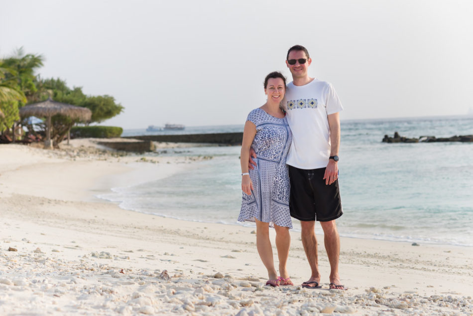 holiday in the maldives - use a self timer to capture the whole family