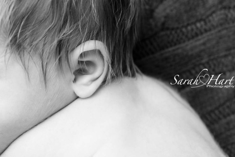 baby ears and soft newborn hair, black and white newborn image, tonbridge photo studio