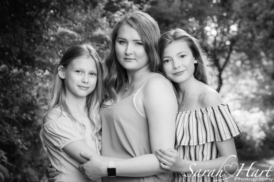 Siblings from a family photography session, black and white family image