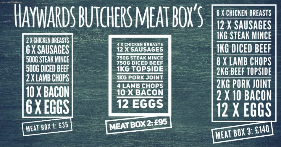 Meat boxes from Haywards Farmshop, Hadlow, Kent