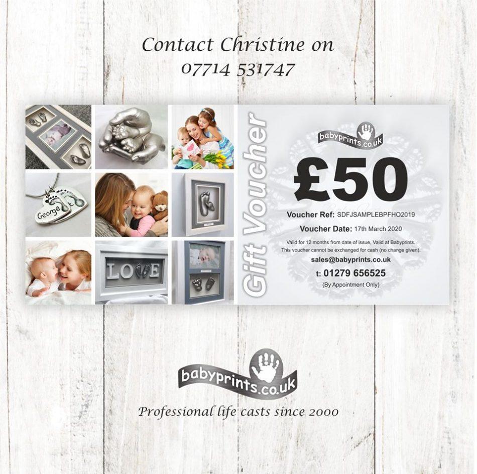 Babyprints Tunbridge Wells offering gift vouchers