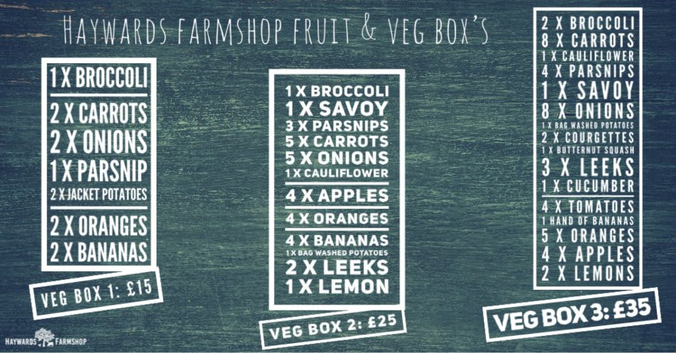 Fruit and Veg boxes from Haywards Farmshop, Hadlow, Kent