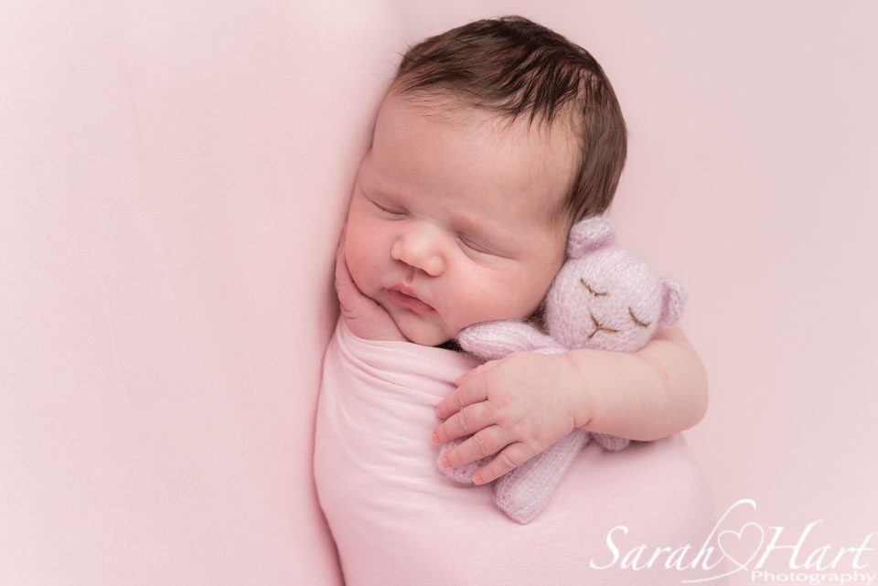 newborn wrapped with teddy, Newborn photoshoot kent