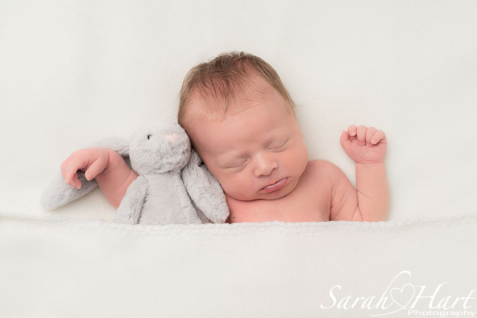 newborn photoshoot tunbridge wells, baby and her bunny
