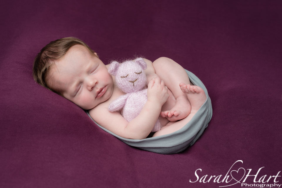 teddy and newborn, baby girl photography ideas