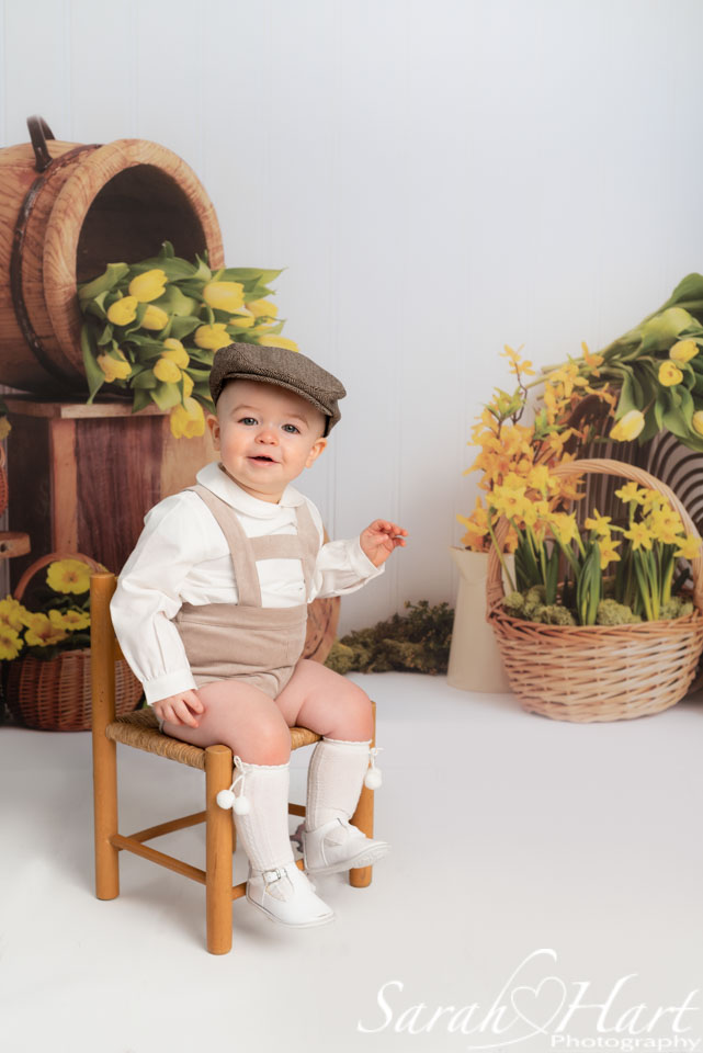 boy in flat cap at spring theme photoshoot, edenbridge photographer