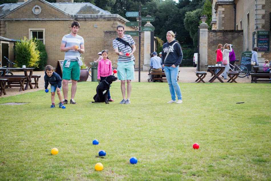 Boules play at a stay at home street party for VE Day celebrations